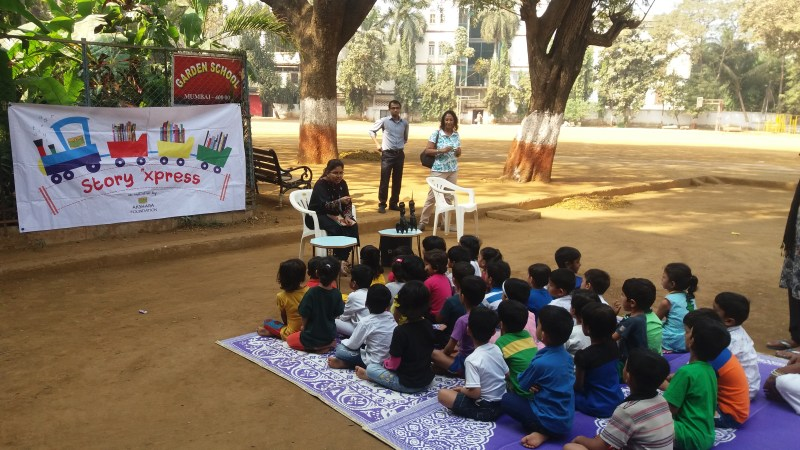 Akshara Foundation organized a Story Express for the Garden school students