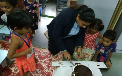 Fariyas hotel distributed the cake for our Garden school children.